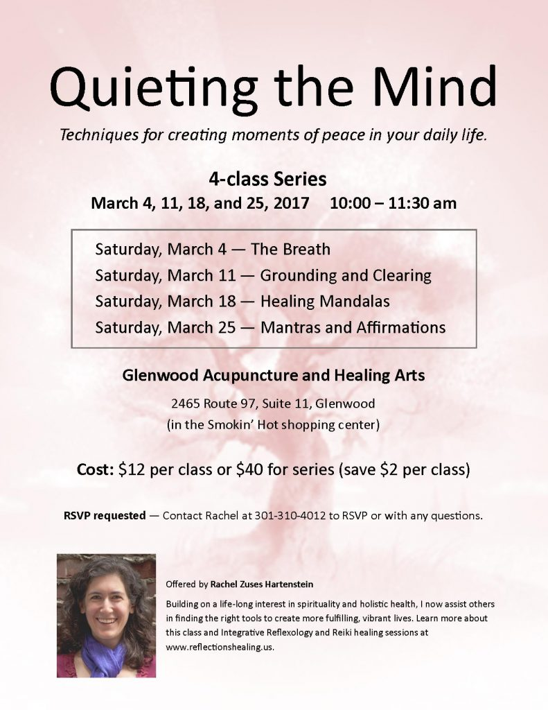 Meditation Class Series, March 4, 11, 18, 25, 2017 at Glenwood Acupuncture and Healing Arts