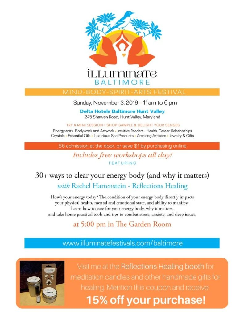 Illuminate Baltimore, November 3, Hunt Valley, coupon for 15% off meditation candles and gifts